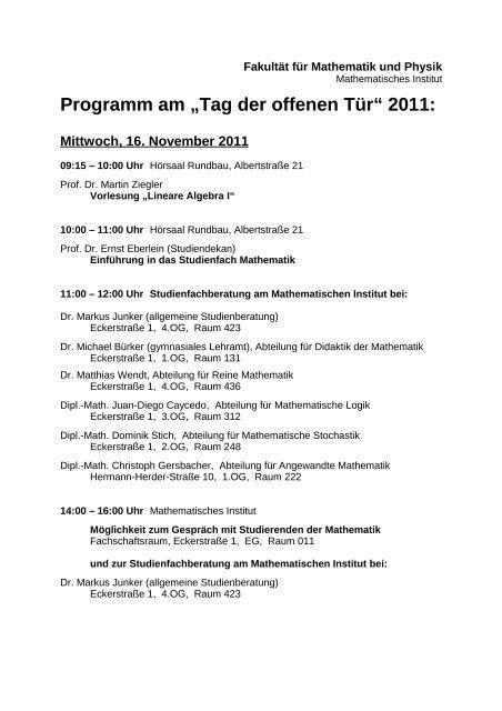 fakultät für mathematik und physik - Mathematisches Institut der ...
