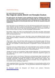 Konopka Couture Shock - Medienmitteilung Oktober 2006