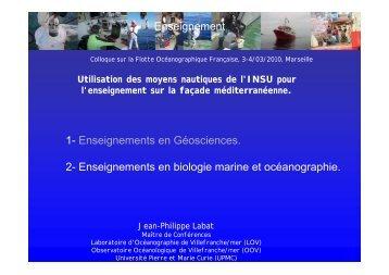 Enseignements en biologie marine et océanographie.