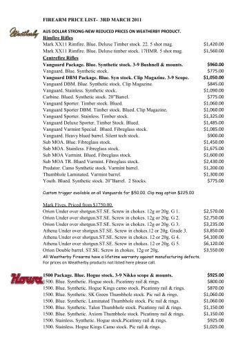 FIREARM PRICE LIST - Melbourne Firearms Centre