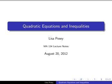 Quadratic Equations and Inequalities