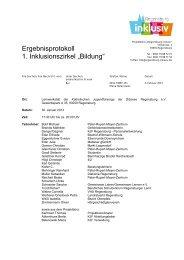 "Ergebnisprotokoll 1. Inklusionszirkel ""Bildung"" - KJF Regensburg"