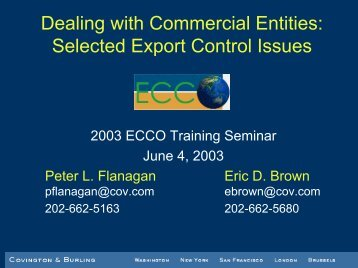 Dealing with Commercial Entities: Selected Export Control Issues