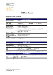 JISC Final Report - Information Systems Security Research Group ...