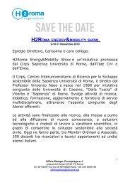 I Promotori Scientifici Cirps Sapienza Universita di Roma ... - H2Roma
