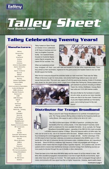 Talley Celebrating Twenty Years! Manufacturers