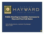 Increases to Hayward Taxi Cab Rates - City of HAYWARD