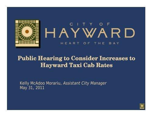 Increases to Hayward Taxi Cab Rates - City of HAYWARD
