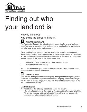 Finding out who your landlord is - TRAC Tenant Resource ...