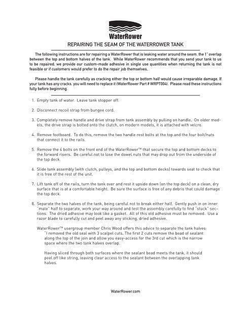 RepaiRing the Seam of the WateRRoWeR tank - Waterrower biz