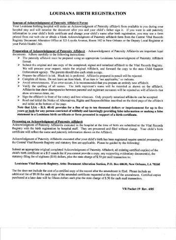 acknowledgment of paternity affidavit - Louisiana Department of ...