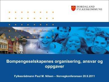 Bompengeselskapenes organisering, ansvar og ... - Norvegfinans