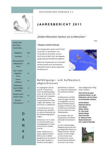 Jahresbericht 2011 - Hospizbewegung Dormagen eV