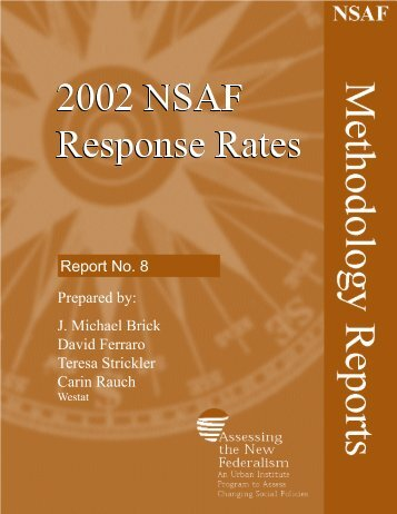 No. 8: 2002 NSAF Response Rates - Urban Institute