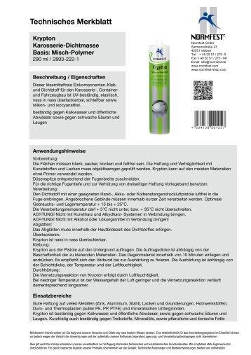 Technisches Merkblatt - Normfest Online-Shop