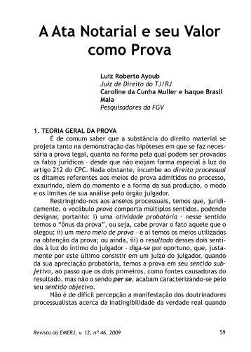 A Ata Notarial e seu Valor como Prova Luiz Roberto Ayoub - Emerj