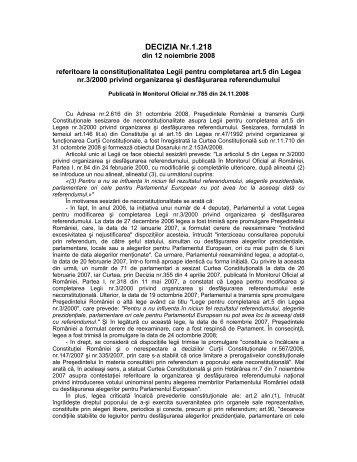 35. Decizia nr. 1218 din data de 12.11.2008 - Curtea Constituţională ...