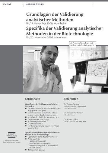 Grundlagen der Validierung analytischer Methoden - GMP-Navigator