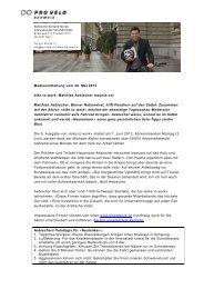 Auftakt Aktion 2013: Matthias Aebischer machts vor - Bike to work