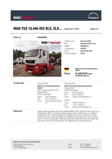 MAN TGX 18.440 4X2 BLS, XLX... State 08 10 2012 -  MAN TopUsed
