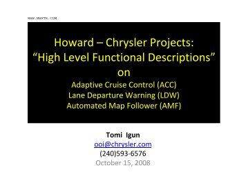 Functional Descriptions on 3 Chrysler Projects - MWFTR