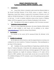 draft prospectus for b.tech lateral entry course – 2011 - Directorate of ...