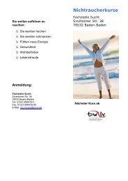 Nichtraucherkurse - Suchthilfe Baden-Baden