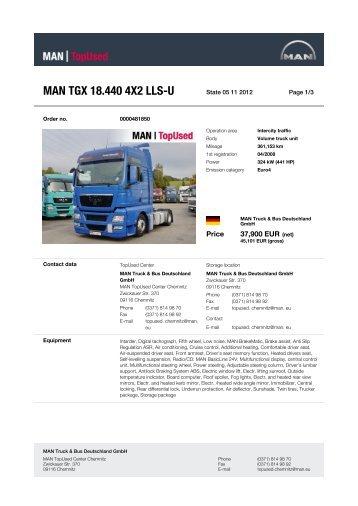 MAN TGX 18.440 4X2 LLS-U - MAN TopUsed