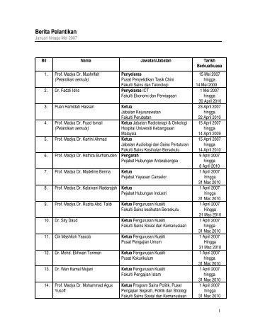 Berita Pelantikan - Sistem e-Warga - Universiti Kebangsaan Malaysia