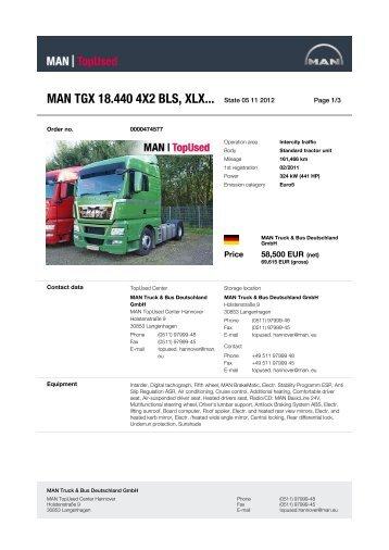 MAN TGX 18.440 4X2 BLS, XLX... State 21 10 2012 -  MAN TopUsed
