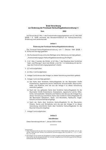Verordnung zur Änderung der Herkunftsgebietsverordnung - Ezg ...
