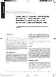 zur reliabilität, validität, sensitivität und diagnostizität von herzfrequenz