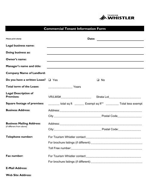 commercial tenant information form