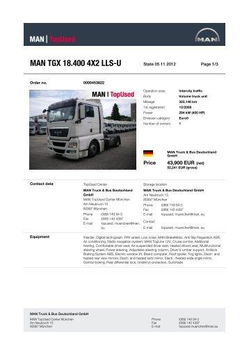 MAN TGX 18.400 4X2 LLS-U - MAN TopUsed