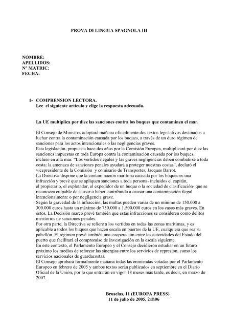 PROVA DI LINGUA SPAGNOLA III NOMBRE: APELLIDOS: N ...