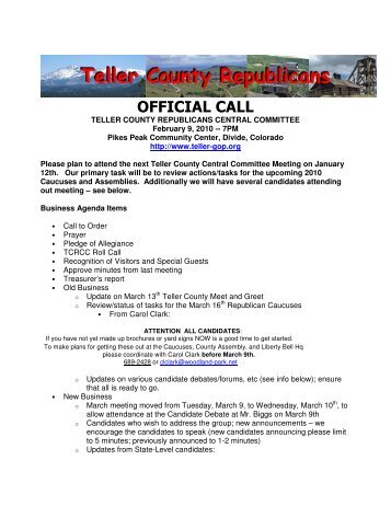 OFFICIAL CALL - Teller County Republicans