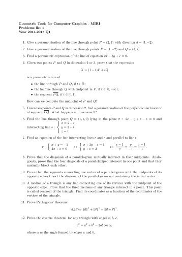 Geometric Tools for Computer Graphics Problems list 1 Year 2012 ...