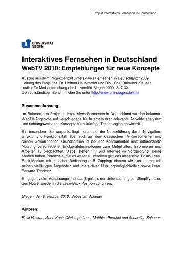 Interaktives Fernsehen in Deutschland, WebTV 2010 ...
