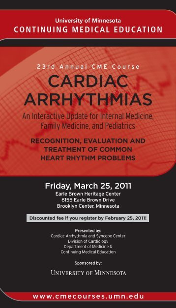 cardiac arrhythmias - University of Minnesota Continuing Medical ...