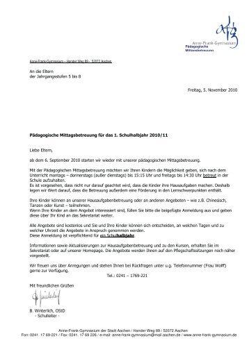 anschreiben eltern fr angebot und anmeldung 1 halbjahr 2010 - Anschreiben Angebot