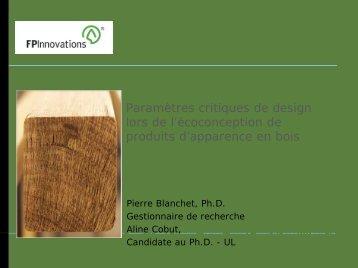 Paramètres critiques de design lors de l'écoconception de produits d ...