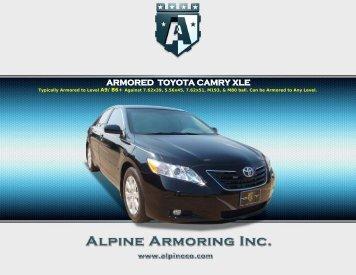 ARMORED TOYOTA CAMRY XLE - Alpine Armoring Inc.