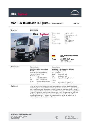 MAN TGS 18.440 4X2 BLS (Euro... State 14 10 2012 -  MAN TopUsed
