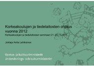 Korkeakoulujen ja tiedelaitosten ohjaus vuonna 2012