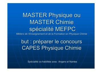 MASTER Physique ou MASTER Chimie spécialité MEFPC