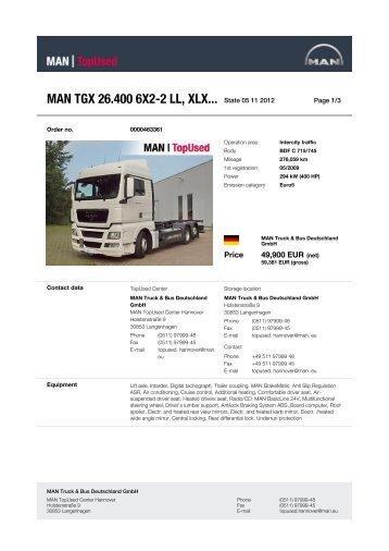 MAN TGX 26.400 6X2-2 LL, XLX... State 21 10 2012 -  MAN TopUsed