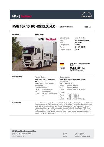 MAN TGX 18.400 4X2 BLS, XLX... State 21 10 2012 -  MAN TopUsed