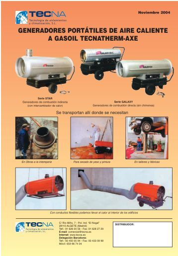 generadores portátiles de aire caliente a gasoil tecnatherm-axe