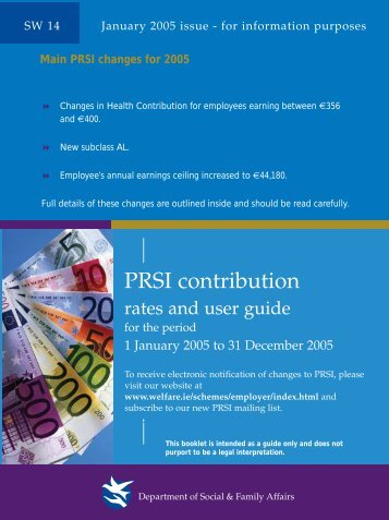 PRSI Contribution Rates and User Guide 2005 - SW14 - Welfare.ie