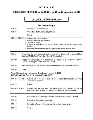 Horaire 2008 - Conférence des évêques catholiques du Canada